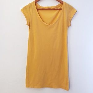 LAmade Long V-Neck Yellow Orange Short Sleeve Tee